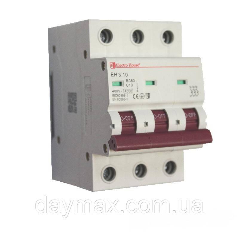 ElectroHouse Автоматичний вимикач 3P 10A 4,5kA 230-400V IP20