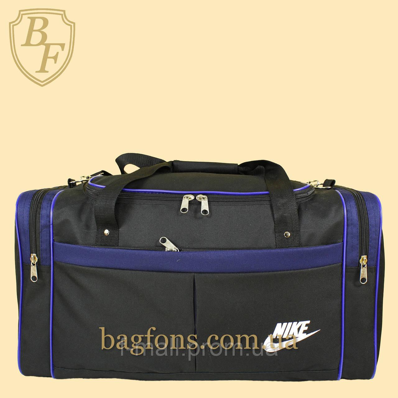 Дорожная спортивная сумка  NIKE черная с синим -15л.