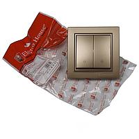 ElectroHouse Выключатель проходной двойной золотой Enzo EH-2187-LG