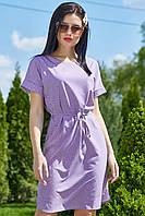 Летнее платье-туника летучая мышь 44-52 размера светло-фиолетовый в горох