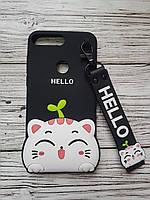 Объемный 3D силиконовый чехол для Huawei Y7 Prime 2018 / Y7 2018 / Nova 2 Lite hello kitty Кошечка черная
