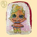 Рюкзак детский с пайетками меняющий цвет для девочек с куклой LOL., фото 5