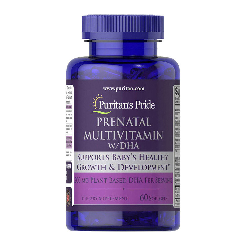 Витамины для беременных и кормящих женщин Puritan's Pride Prenatal Multivitamin w/DHA 60 softgels