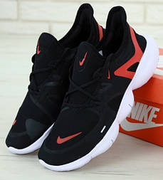 Беговые кроссовки Nike Free Run 2019 черные с белым и красным. Живое фото (Реплика ААА+)