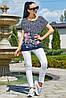 ✔️ Летняя туника футболка женская 44-50 размера темно-синяя с фиолетовыми цветами