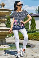 ✔️ Летняя туника футболка женская 44-50 размера темно-синяя с фиолетовыми цветами, фото 1