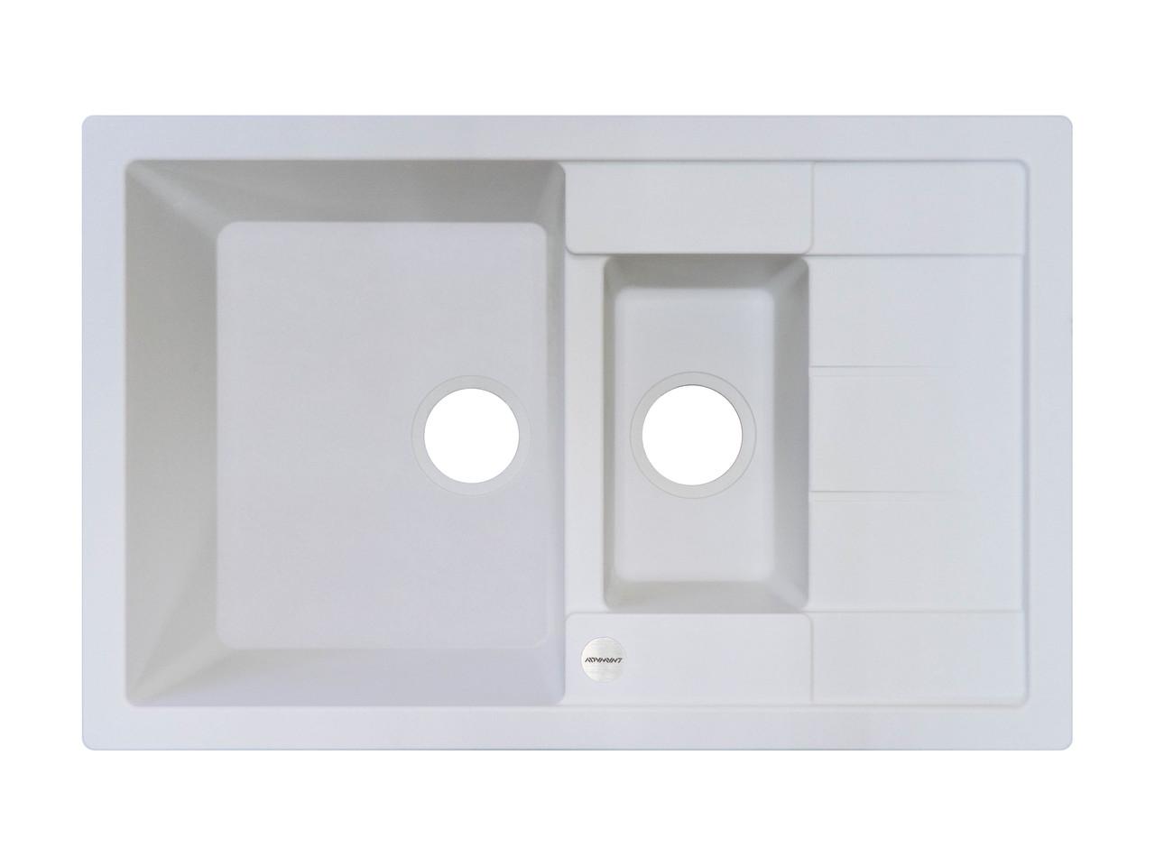 Белая мойка для кухни гранитная 78*50*20 см ADAMANT ANILA PLUS (БЕЛЫЙ)