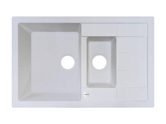 Белая мойка для кухни гранитная 78*50*20 см ADAMANT ANILA PLUS (БЕЛЫЙ), фото 2