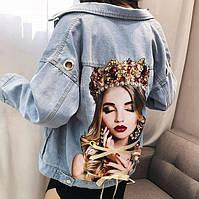 Женская короткая джинсовая куртка с рисунком на спине Queen, фото 1
