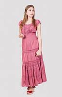 Очаровательное хлопковое платье стильного кроя в красивом цвете