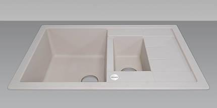 Кухонная мойка 2 х секционная гранитная 78*50*20 см ADAMANT ANILA PLUS (айвори) , фото 2