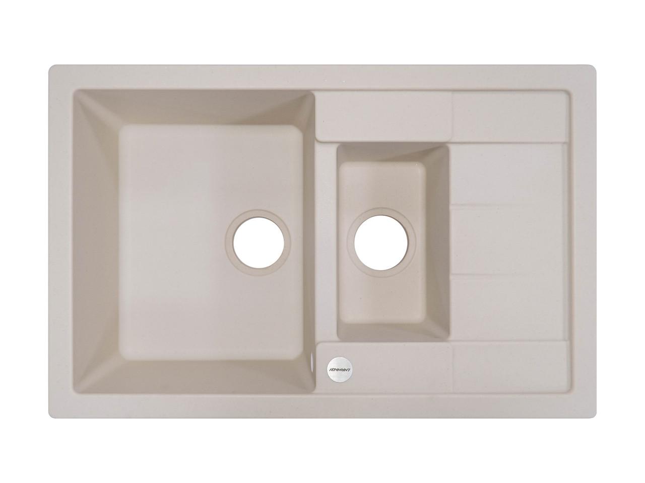 Кухонная мойка 2 х секционная гранитная 78*50*20 см ADAMANT ANILA PLUS (айвори)