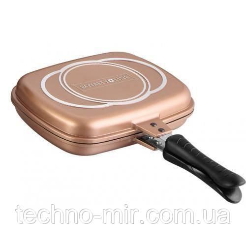 Сковорода гриль двостороння Royalty Line RL-DF28M Copper 28 cm