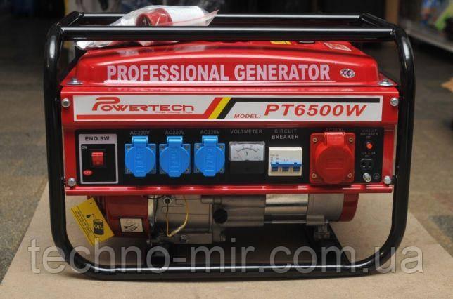Генератор бензиновий 3-х фазний Powertech PT6500W 4.8 кв