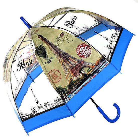 Зонт женский прозрачный полуавтомат Париж 8 спиц