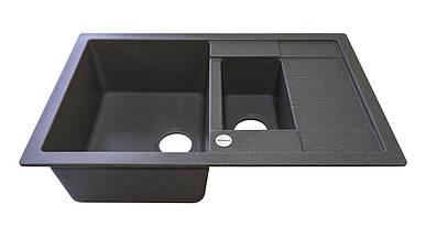 Черная гранитная мойка для кухни гранитная  78*50*20 см ADAMANT ANILA PLUS (темный серый) , фото 2