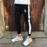 Мужские Спортивные штаны OFF WHITE Реплика черные с белым лампасом