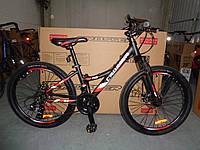 """Велосипед для подростков Crosser Nio Stels 24"""" Черно-красный"""