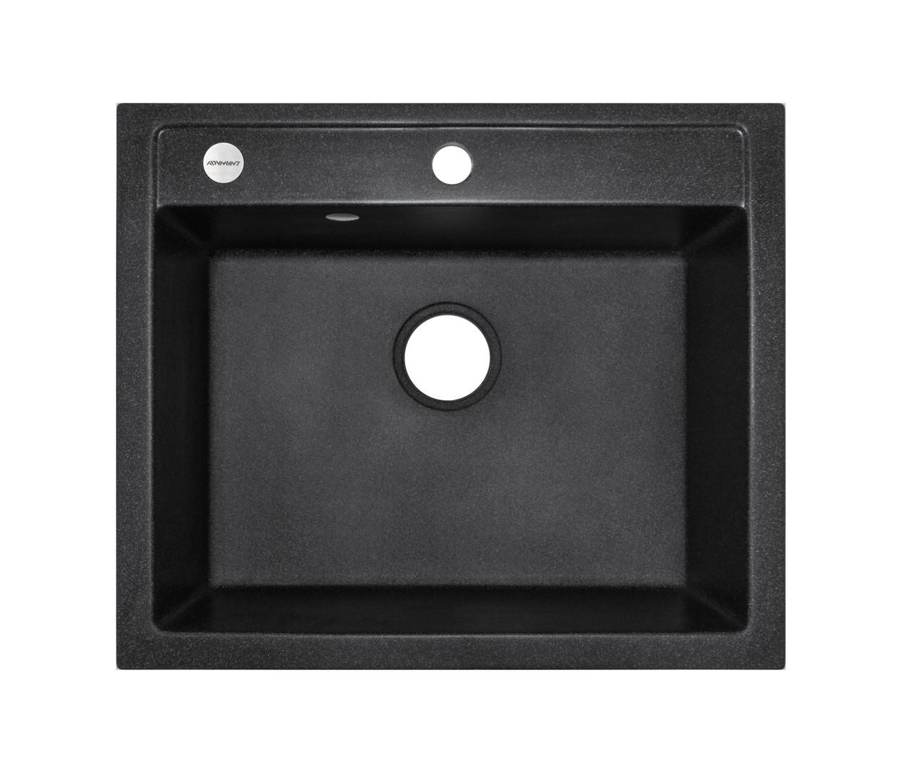 Черная гранитная мойка 59*50 см ADAMANT PRIZMA Черный