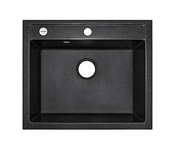 Чорна гранітна мийка 59*50 см ADAMANT PRIZMA Чорний