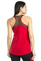 Красная спортивная майка  с сеткой по спине в комплекте с лосинами