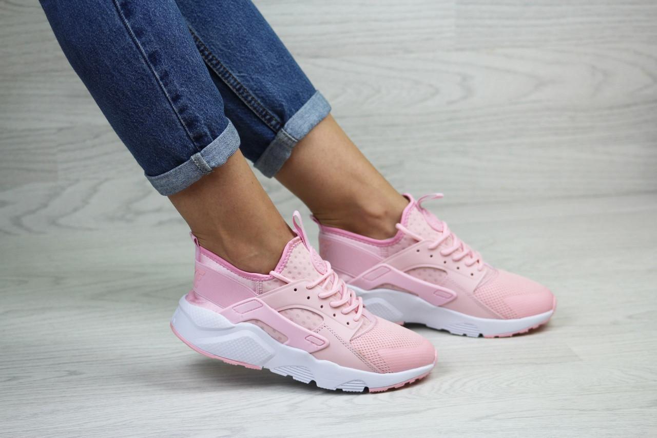 Женские кроссовки Nike Huarache (розовые)