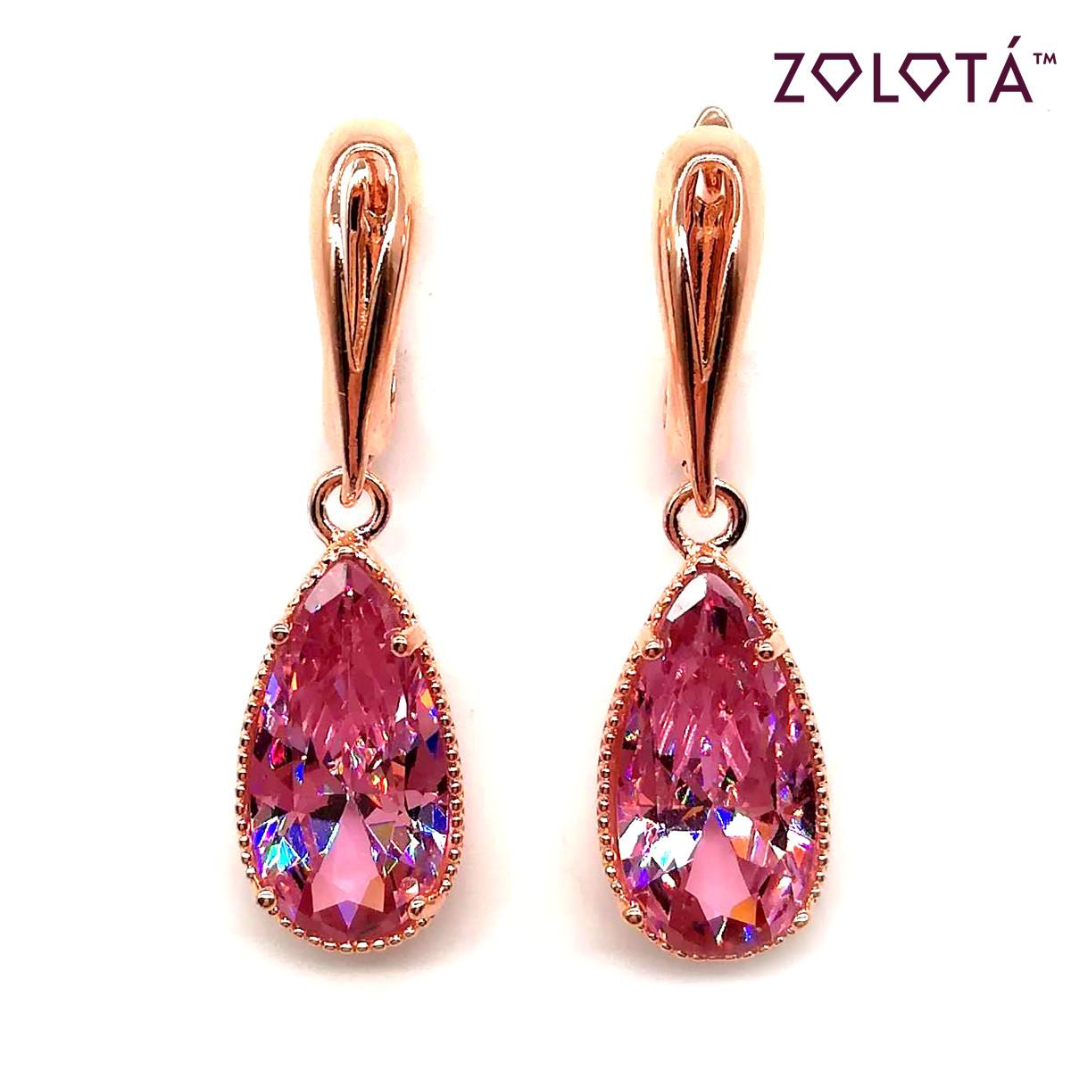 Серьги Zolota с розовыми фианитами (куб. цирконием), из медицинского золота, в позолоте, ЗЛ00061 (1)
