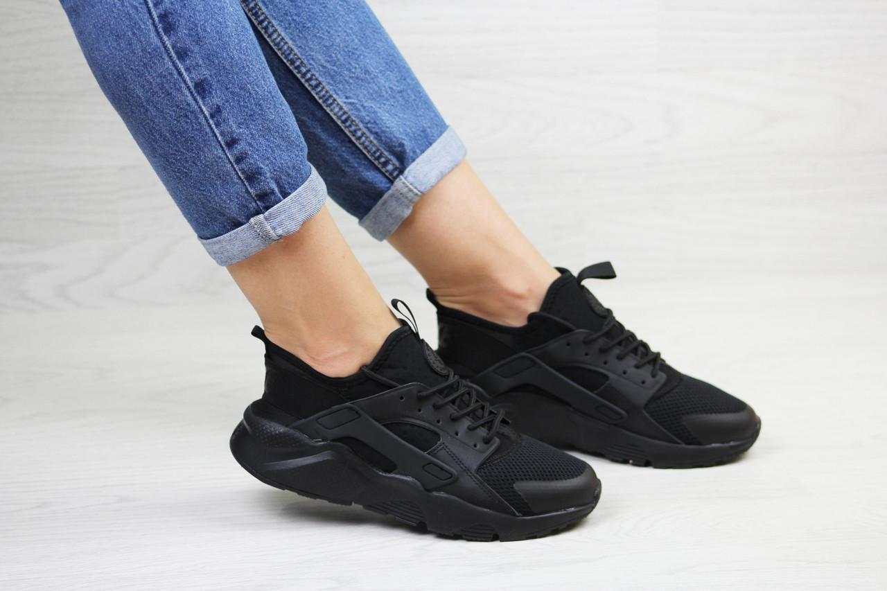 Женские кроссовки Nike Huarache (черные)