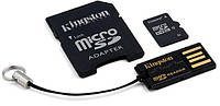 Карта памяти Kingston microSD 16 GB (+ SD адаптер, USB миникардридер)