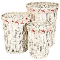 """Набор плетеных корзин для белья из натуральной лозы 3шт. """"Фламинго"""" (58*45*45 см)"""
