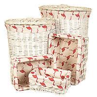 """Набор плетеных корзин для дома из натуральной лозы 5шт. """"Фламинго"""" (57*50*38 см)"""