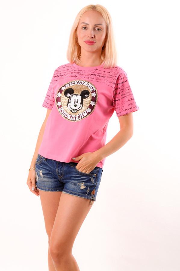 """Женская футболка  розовая с нашивкой """"Микки"""" размеры 40-46"""