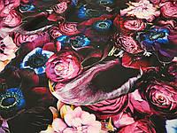 Креп шовк Квіти на темному фоні