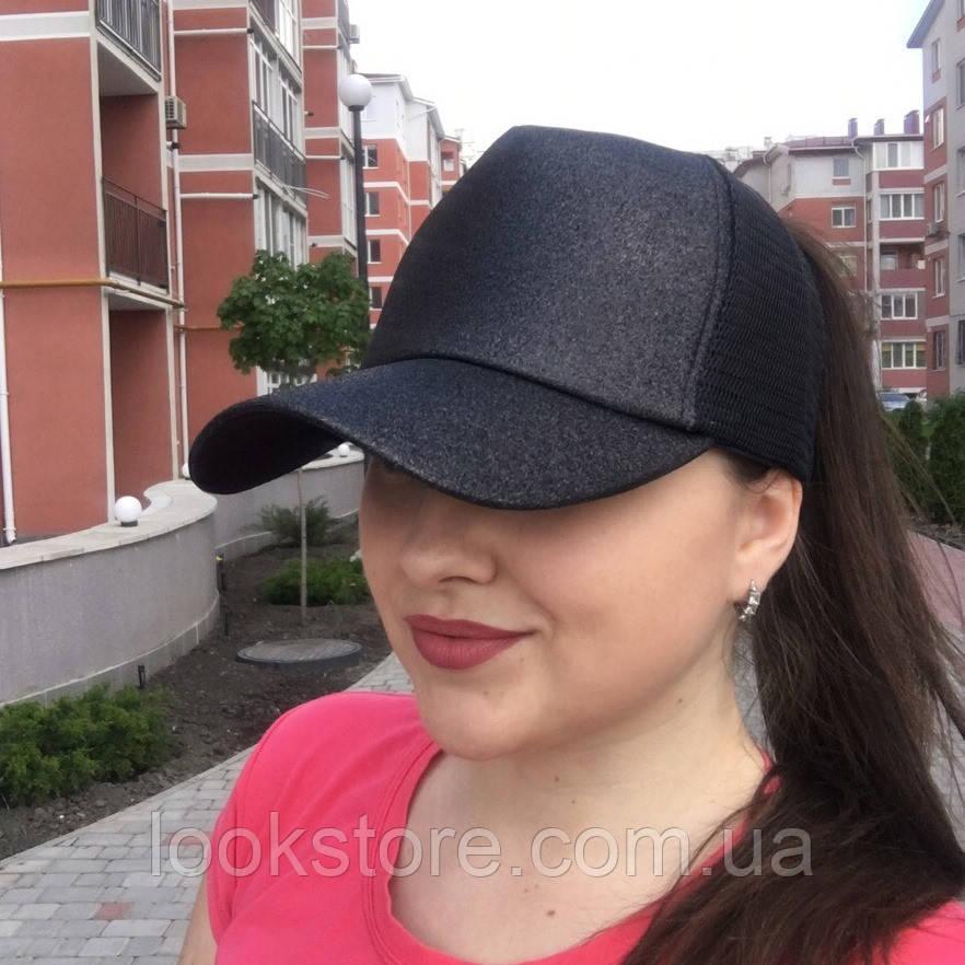 Женская блестящая кепка под хвост Glitter черная, фото 1
