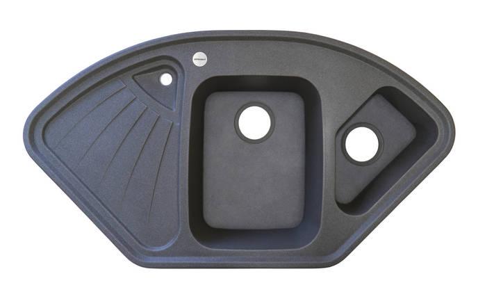 Кухонная мойка угловая из искусственного камня ГРАНИТ ADAMANT CONSENSUS темный серый, фото 2