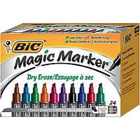 BIC Маркер для сухого стирання.Magic Marker, Dry Erase Chisel Tip, Assorted Colors, 24/Pack. Асорті кольорів.