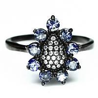 Кольцо из серебра с танзанитами и цирконом, 1063КЦТ, фото 1