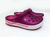 Женские кроксы малиновые, сабо блестящие Crocs оригинал