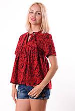Женская футболка красная на завязке размеры 40-44