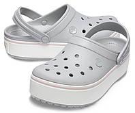 Женские серые кроксы на платформе, сабо Crocs Platform оригинал