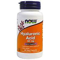 Комплекс для суставов и связок NOW Hyaluronic Acid 50 mg with MSM 60 veg caps
