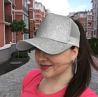 Женская блестящая кепка под хвост Glitter серебряная, фото 1