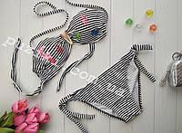 Раздельный купальник в черно-белую полоску с лифом Анжелика для девочки 34-42р