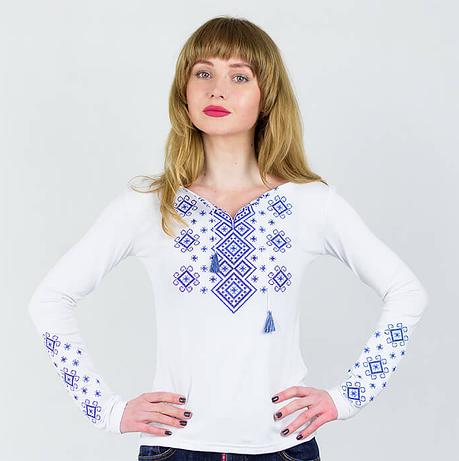 Лонгслив белого цвета с вышивкой Геометрия, фото 2
