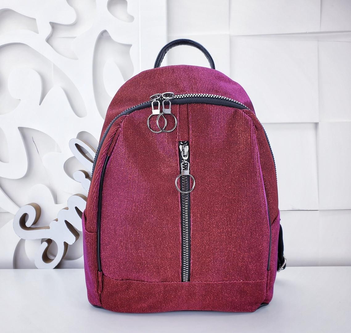 Женский рюкзак в цвете красный с переливом, полиэстер+люрекс+напыление+эко-кожа