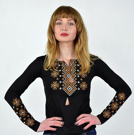 Черная трикотажная вышиванка с длинным рукавом, фото 2