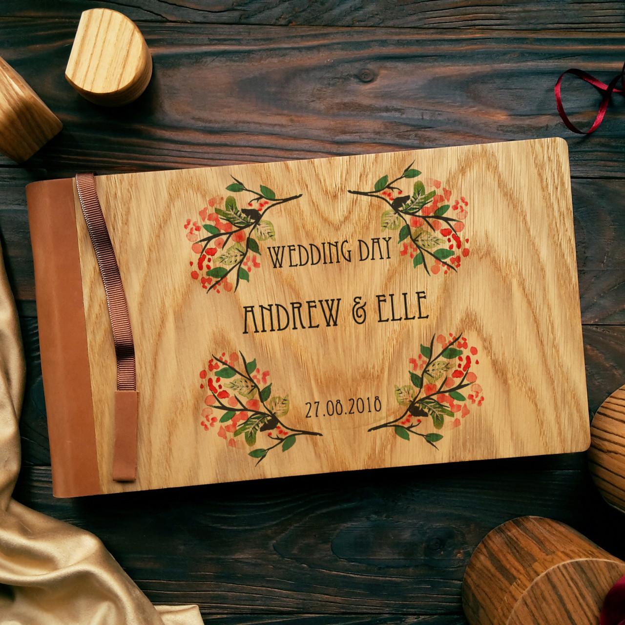 """Деревянная свадебная книга для пожеланий 17х28 см с кожаным корешком """"Венок Акварель"""""""