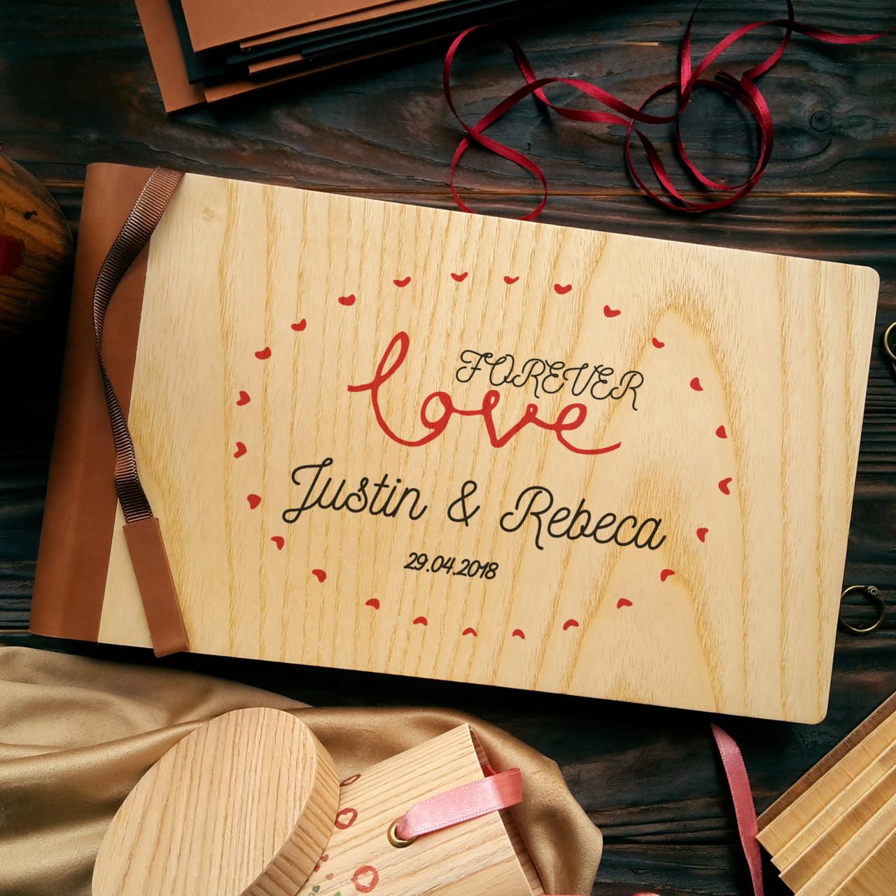 """Деревянная свадебная книга для пожеланий 17х28 см с кожаным корешком """"Любовь Навсегда"""""""