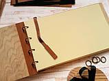 """Деревянная свадебная книга для пожеланий 17х28 см с кожаным корешком """"Венок Акварель"""", фото 2"""