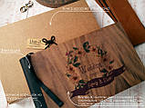 """Деревянная свадебная книга для пожеланий 17х28 см с кожаным корешком """"Венок Акварель"""", фото 5"""